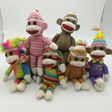 23cm Ty Monkey Sock monkey Plush Toy With Big Mouth Original Stuffed Animal Doll Kids Toy Birthday Gift Gray Pink Brown(China)
