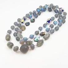 Grey Light Crystal Agates Labradorite Necklace Necklace 97cm