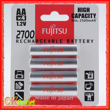 FUJITSU 2700 2700mAh AA High Capacity Pre-charged Rechargeable Battery MADE IN JAPAN 4 Pcs/Pack with Free Gift