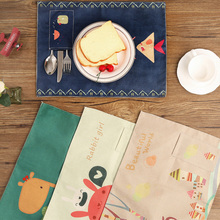 1pc Cotton Linen Table Placemat Cute Cartoon Animal Printed Tableware Pad Insulation Bowl Kitchen Dining Table Decorating Mat