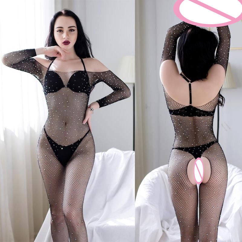Hirigin Lingerie Mesh Body Suit Women Fashion Fishnet Latex Bodystocking Catsuit Sexy Women Bodysuit Stripper Clothes 2018 New