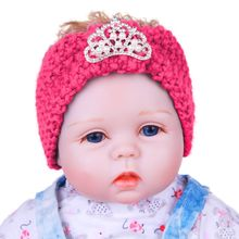 1X  Infant Kids Children  Ear Warmer Head Wrap Crochet Knitted Headband Hairband Crystal Crown Turban Hair Accessories