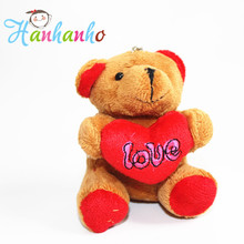 12pcs/Lot Wholesale 4 Colors 9cm Teddy Bear Hug Heart  Plush Toy With Metal Key Ring Wedding Party Supplies