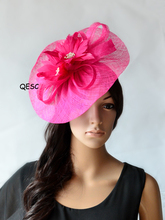 NEW Fuchsia hot pink Black Big Sinamay fascinator hat for Melbourne Cup,Ascot Races,kentucky derby,wedding.FREE SHIPPING(China)