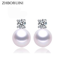 ZHBORUINI Fashion Pearl Earrings For Women Jewelry Of Silver Freshwater Pearl With Princess Style Silver Earring Wedding Jewelry(China)