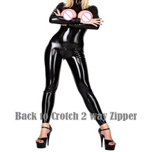 Buy Sexy Lingerie Women PVC Faux Leather Latex Catsuit Teddy Bodysuit Open Bust Zipper Crotchless Tight Erotic Fetish Jumpsuits
