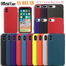 Tiene logotipo Original oficial funda de silicona para iPhone 7 8 Plus para Apple Case para iPhone X XS X Max XR 6 6 S 5 5S SE Capa(China)