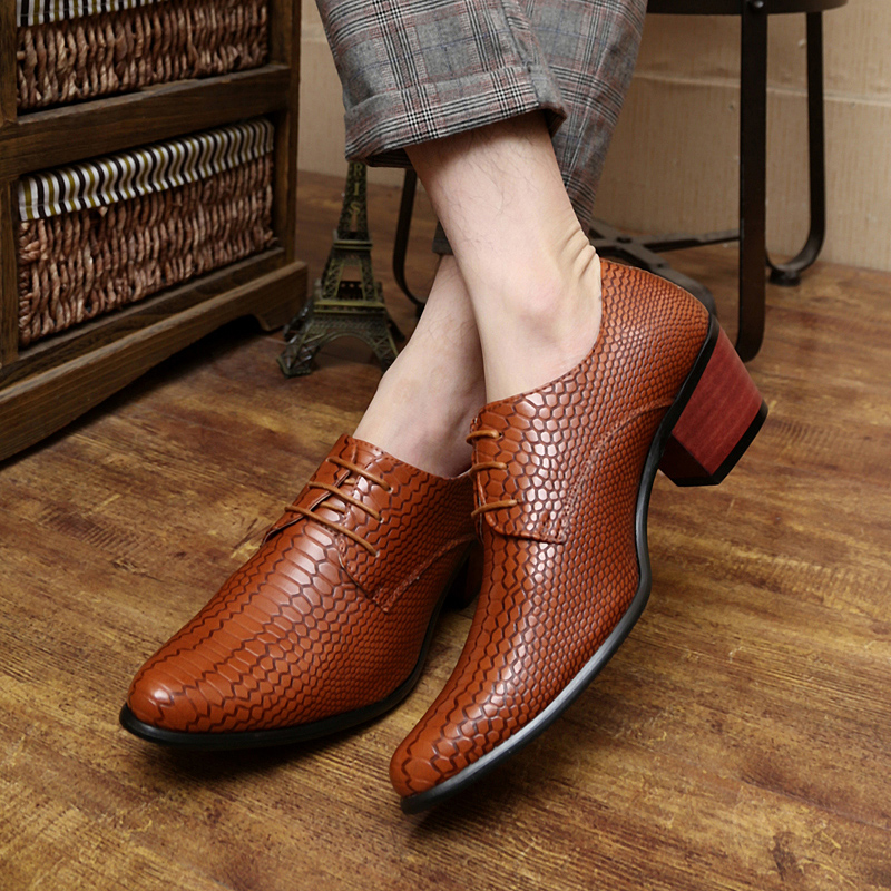 height increasing snake skin men shoes luxury brand italian formal leather male footwear pointed toe brogue oxford shoes for men (58)
