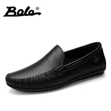 BOLE Men Leather Shoes New Handmade Moccasins Genuine Leather men Loafers Design Superstar Slip on Comfort Peas Shoes Men Flats