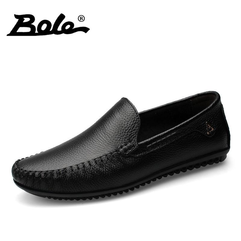 BOLE Men Leather Shoes New Handmade Moccasins Genuine Leather men Loafers Design Superstar Slip on Comfort Peas Shoes Men Flats<br>
