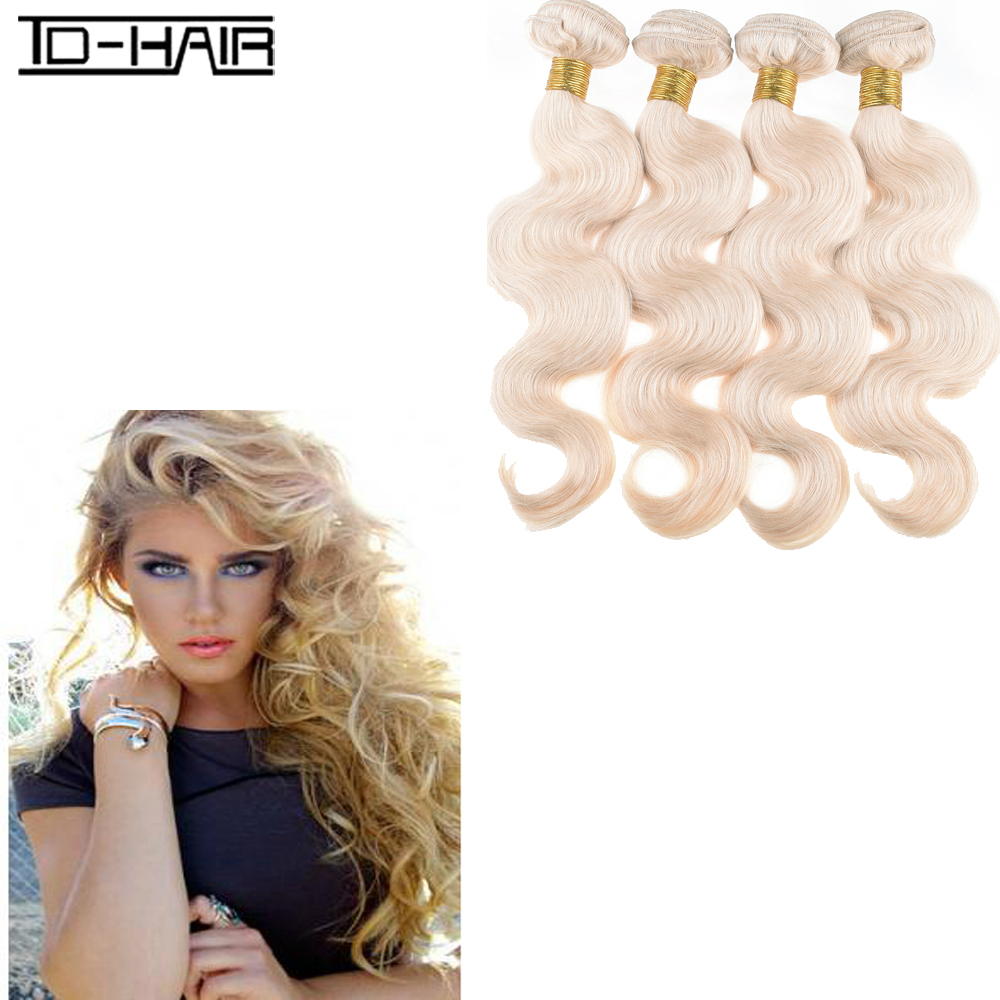 8A Brazilian Virgin Hair Body Wave blonde wave 4pcs Brazilian virgin hair  Blonde 613#  Hair Weaving Bundles TD HAIR products<br><br>Aliexpress