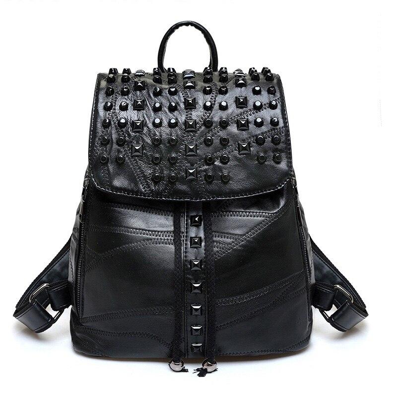 Genuine Leather Women Backpack Designer Female Backpacks Students School Bags Fashion Genuine Leather Travel Rivet Backpack<br>