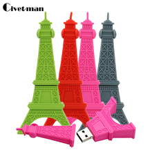 Civetman pendrive usb flash drive gray Paris Tour Eiffel 4gb 8gb 16gb 32gb pen drives usb drive Eiffel Tower usb flash memory(China)