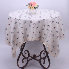 Fresh Beige Table Cover for Restaurant Hotel / Mediterranean Style Spring Summer Birds Cotton Linen Table Cloth for Small Tables(China)