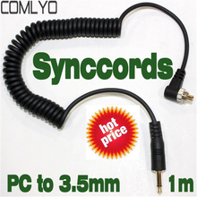 Hot Sales! COMLYO  3.5mm to Male FLASH PC Sync Cable Cord with Screw Lock 1m Camera Accessories High Quality