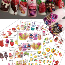18pcs 2017 Hot Cake/Ice Cream Nail Sticker Mixed Colorful Designs Women Makeup Water Tattoos Nail Art Decals  CHSTZ474-488