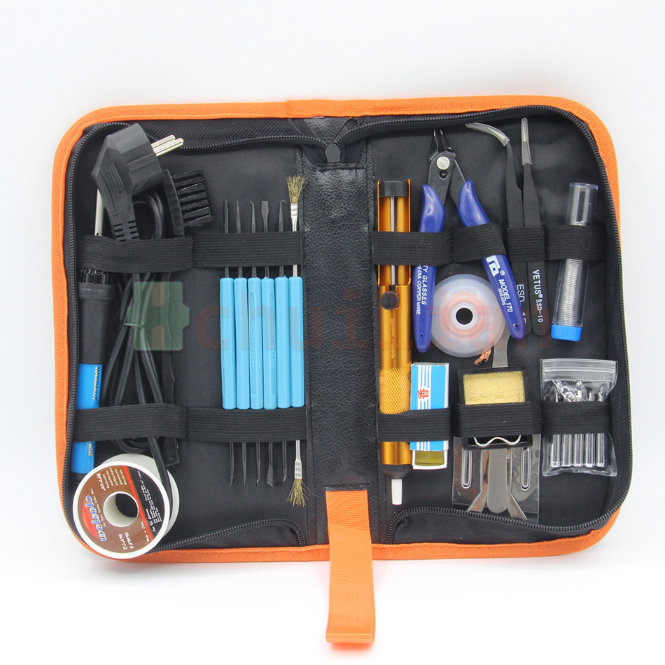 EU Plug 220V 60W Adjustable Temperature Electric Soldering Iron Kit With 5pcs Tips Portable welding rework repair tool 15 in 1<br>