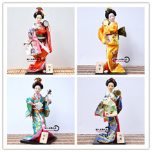 J005 12 inches 30*13cm Handmade Japanese Brocade Kimono Kabuki Geisha Doll with Drum & Instrument Home Decoration Festival Gift