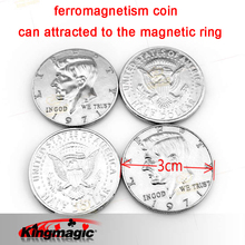 1pcs Half Dollar ferromagnetism Coin Magic Tricks Close Up Magic Accessory Gimmick Easy To Do for Beignner Email Video(China)