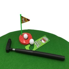 2017 Novelty Game for Kids Adult Green Mini Golf Set Toilet Golf Putting Potty Putter Toilet Golf Game
