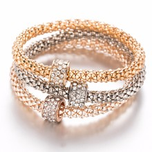 KISS WIFE 3Pcs Unisex Personality Elastic Crystal Round Chain Metal Silver Rose Gold Bracelet Set For Women Jewelry Gifts(China)