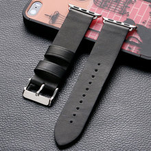 High Quality Black Genuine Leather Band Strap 38mm/42mm Elegant Business Replacement Pin Buckle Best For Apple Watch(China)