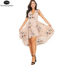 NewAsia Garden Sleeveless V Neck Rose Floral Print Women's High Low Wrap Dress Casual Summer Spring Party Beach Dresses New