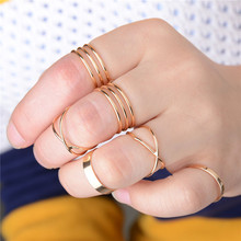 Fashion 6pcs/set X Shaped Punk Gold Played Alloy Rings Set Stacking Midi Finger Knuckle Ring Kit Jewelry For Women(China)