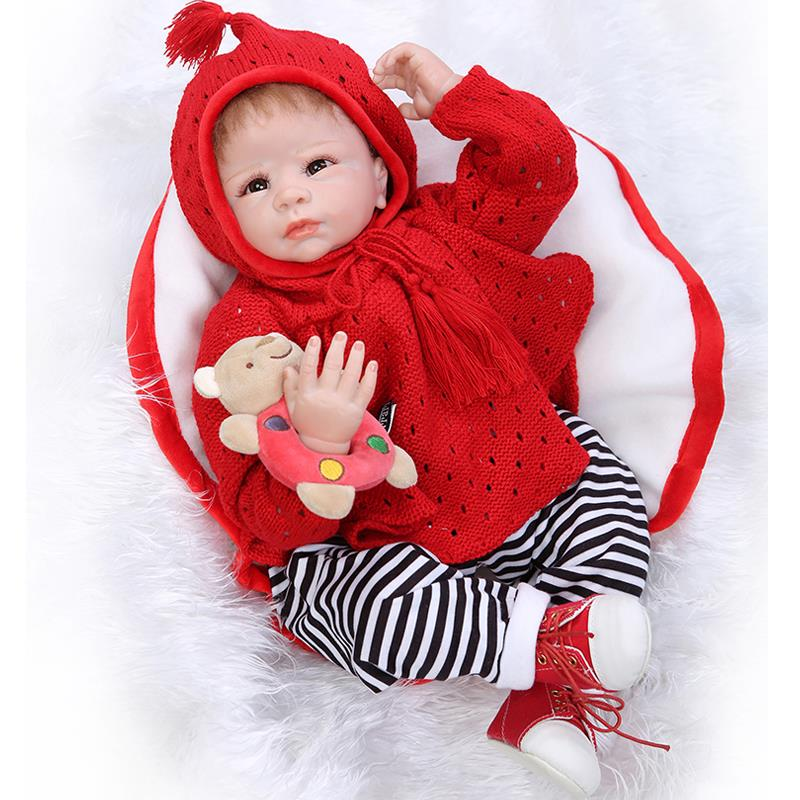 UCanaan 50-55cm Red Swear Outfit Handmade Silicone Reborn Baby Doll Soft Touch Body Princess Lifelike Baby DIY babies birthday<br><br>Aliexpress