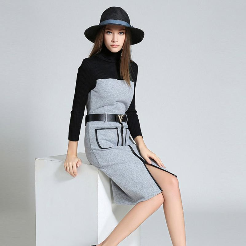 Women Autum Knitted Wool Splicing Denim Jeans Dress Turtleneck Soft Thin Waist Long Sleeve With 2 Pockets Winter Jean Dresses Îäåæäà è àêñåññóàðû<br><br>