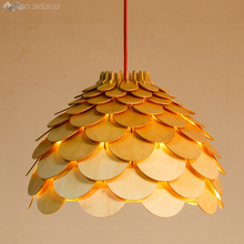 OAK Modern Art Wooden Pinecone Pendant Lights Hanging Wood PH Artichoke Lamps Dinning Room Restaurant Retro Fixtures Luminaire(China)