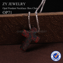 925 Silver Box Chain Necklace Fashion Cross OP71 Black Fire Opal Pendant Necklace For Women