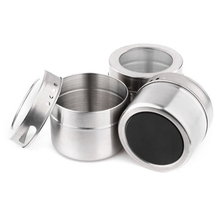 1PC Handy Useful Portable Herb Salt Pepper Stainless Steel Spice Jars Flavoring Container Magnetic Tins Kitchen Storage(China)