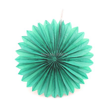 Deep Green Hanging Chinese Paper Fans for Party Wedding Decoration