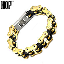 Hip Brand Punk Gold Color 22mm Huge Heavy Men's Motor Bike Chain Motorcycle Chain Bracelet Bangle 316L Stainless Steel Jewelry