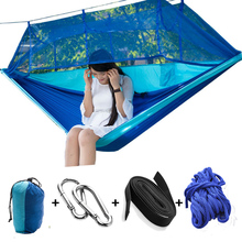 Portable Hammock Folded Into The Pouch Mosquito Net Hammocks Hanging Bed for Travel Kits Camping Hiking HG99(China)