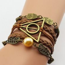 Buy Vintage leather rope harry Deathly Hallows bracelets hand weave multilayer retro potter bracelets movie fans for $1.46 in AliExpress store