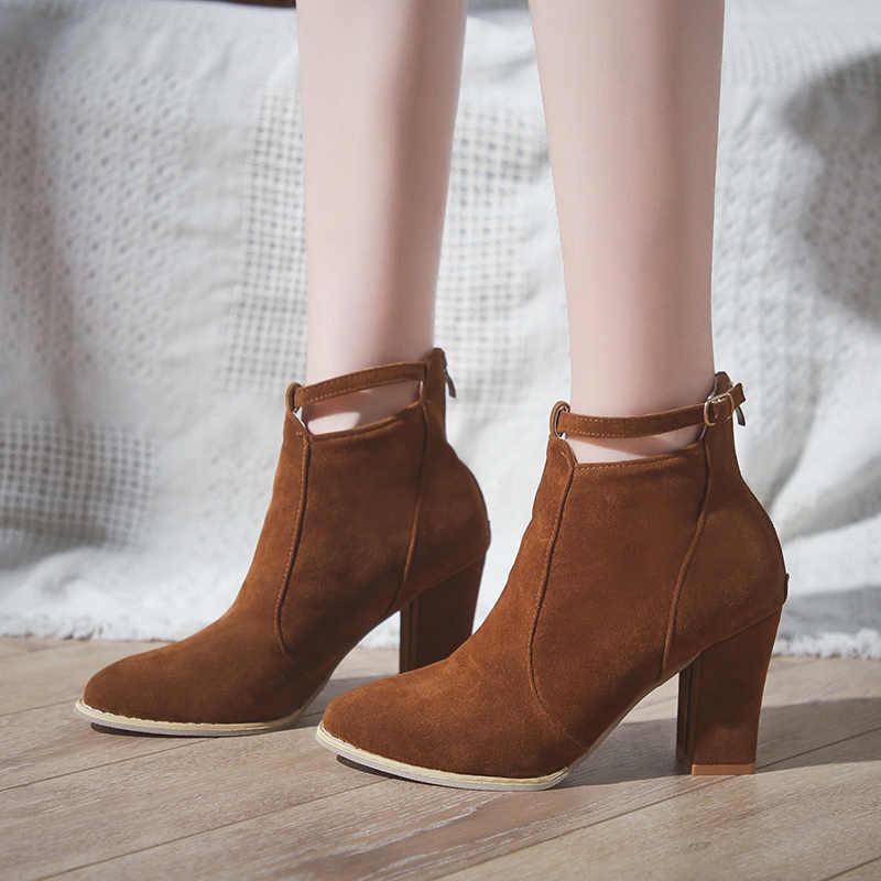 9edcba9f Moda 2018 botas de tobillo para mujer Otoño Invierno tacones altos gruesos  Flock botas de cuero