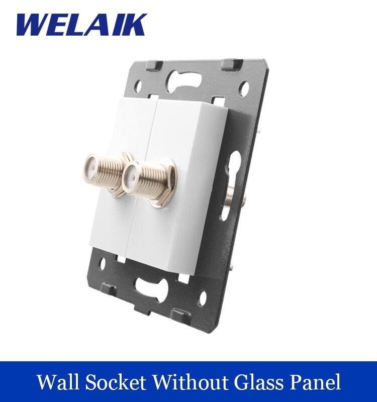 WELAIK EU Standard 2 satellite  Socket DIY Parts  White parts wall satellite socket Without Glass Panel A82SA<br><br>Aliexpress