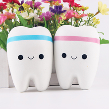 Etmakit 1pcs 11CM PU Kawaii Soft Squishy Cute Teeth Slow Rising Jumbo Squeeze Cell Phone Strap Key Chain Pendant Toy