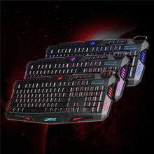 LED Red/Purple/Blue Backlight Russian Keyboard Wired Backlit Keyboard Computer Gaming Keyboard USB Powered for LOL PC Laptop