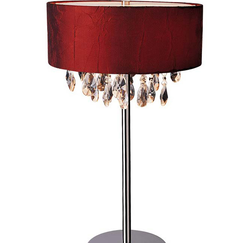 Elegant Designs Trendy Cascading Crystal and Chrome Table Lamp Drum Shade