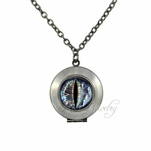Black Gun Plated Jewelry Cat Eye Locket Pendant Evil Eye Choker Necklace Jewellery Dragon Eye Pendants Necklaces(China)