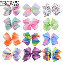 "1PC Little Girls Large Grosgrain Ribbon 8"" Hair Bows Boutique Rainbows Knotted Bows With Alligator Clips Accessories"