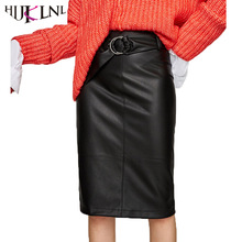 HIJKLNL faldas largas Autuumn Winter Vintage Waist Belt PU Faux Leather Skirt Women High Waist Metal Rings Pencil Skirt NA374(China)