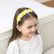 1PCS Cute Yellow And White Flowers Hair Hoop Boutique Baby Hairbands Princess Headwear Girls Hair Accessories Children Headbands(China)