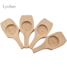 Lychee Wood Chinese Style Moon Cake Mold Handmade Flower Pattern Mould Crafts DIY Baking & Pastry Tools Random