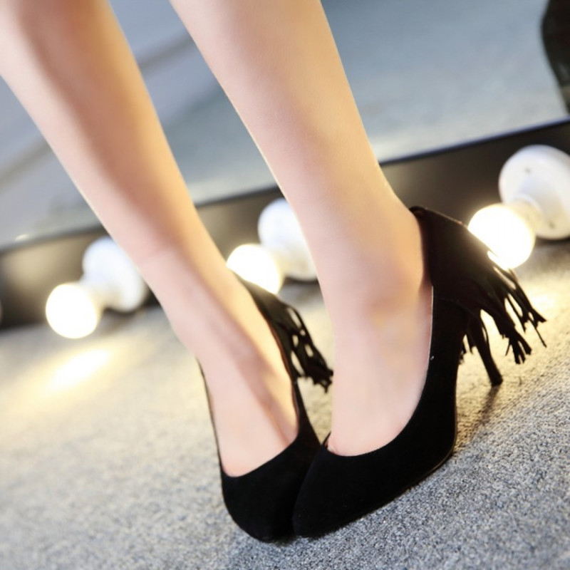 Female Novelty Tassel flock Plus size 46 47 pointed toe High heels women Pumps Stilettos Nigh club Party Shoes Beige Flower Sole<br><br>Aliexpress