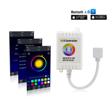 Bluetooth 4.0 RGB LED Controller DC12V-24V Music/Sound APP Control for RGB/RGBW LED Strips Compatible with IOS 6.0 & Android 4.0