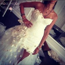 Gorgeous Lace Sheath Short Wedding Dress with Detachable Royal Tulle Train Handmade Flowers Lace Destination Bridal Gown